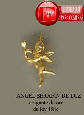 colgante ángel Serafín de oro de ley