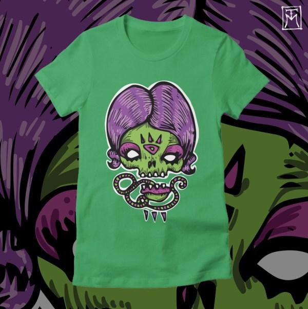 Purple Lady Skull - Tshirt Design