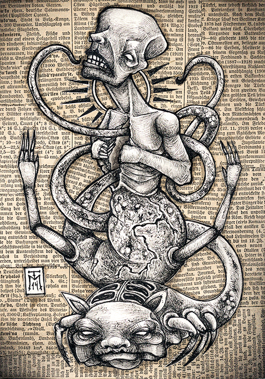 Entwined - Grotesque Drawing