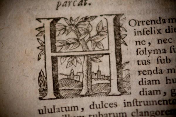 Sermones Sacri - Macro Detail of Ornamental Lettering