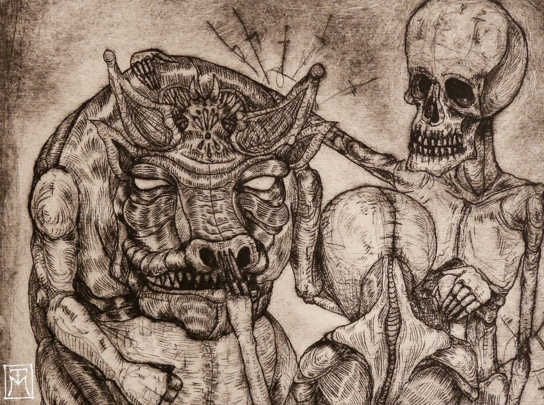 """The Dialogue"" Etching (detail)"