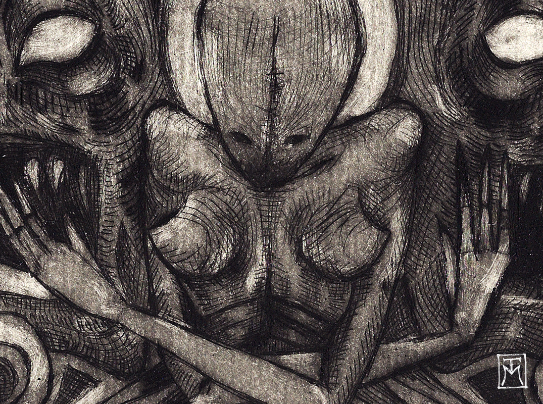 """Guardians"" Etching detail"