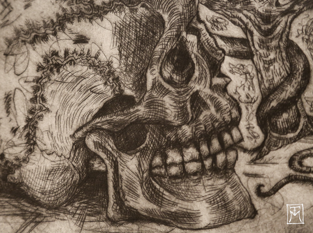 Skull Study Etching (detail)