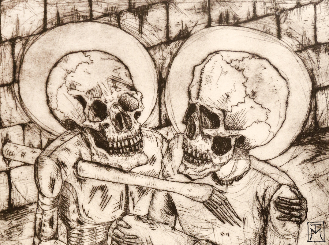 """The Comforter"" Etching (detail)"