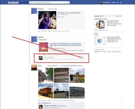 Upload photos on Facebook with your comment
