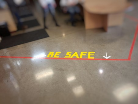 Friday, May 1, 2020 – The 6-feet of social distance safety line at the Crisis Recovery Center in Fife, WA. Crystal St. Louis