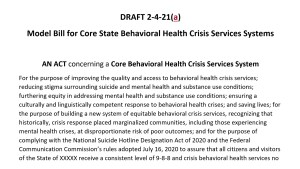 Model Bill for Core State Behavioral Health Crisis Services Systems