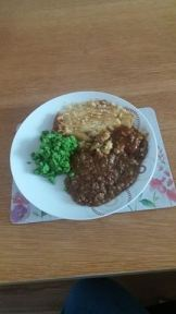 cottage pie and peas