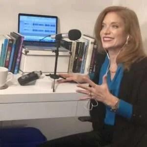 Dr. Andrea Wojnicki recording a podcast