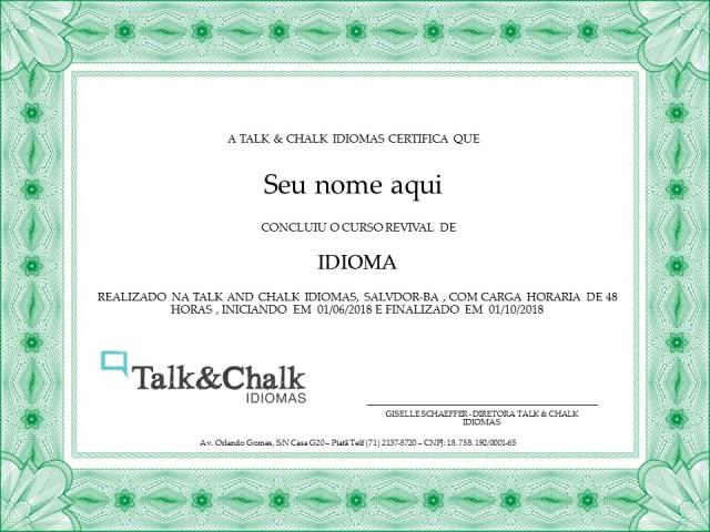 Certificado Talk and Chalk Idiomas