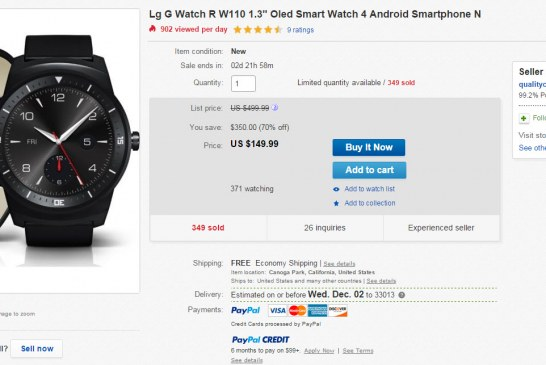 Deal Alert – Brand New LG G Watch R $150 via eBay