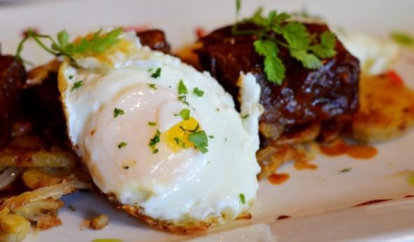Fried egg on short rib hash at Noir Stamford