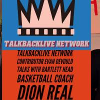 TBL Network's Evan Devould talks with Bartlett High School's head coach Dion Real
