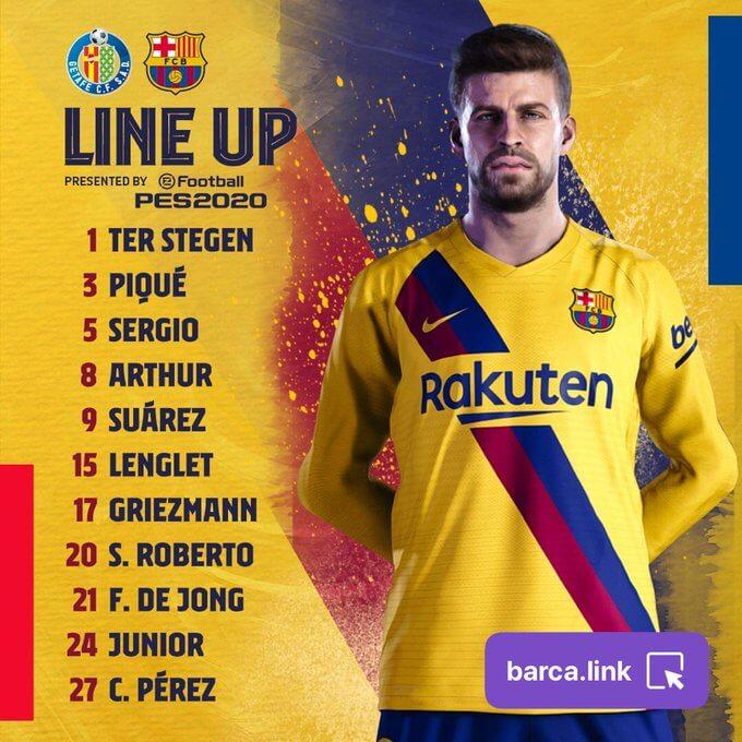 Getafe vs Barcelona [0-2] Starting Lineup - La Liga 2019-20