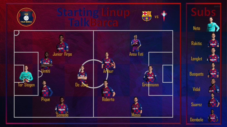Barcelona vs Celta Vigo [4-1] Starting Lineup - La Liga 19-20