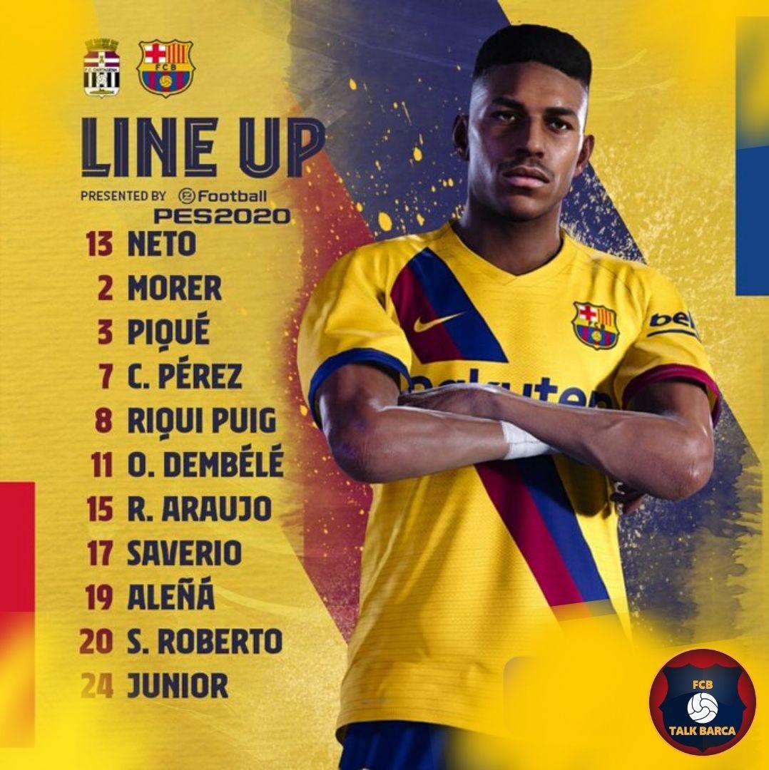 FC Cartagena vs Barcelona Starting Lineup - LaLiga 19-20