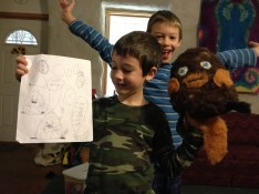 Finished project---from creative concept on paper (by Zander) to finished stuffed toy by Lann.