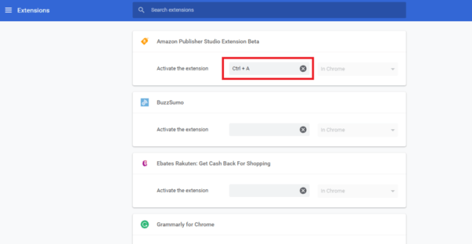 Assign Keyboard Shortcuts in Chrome settings