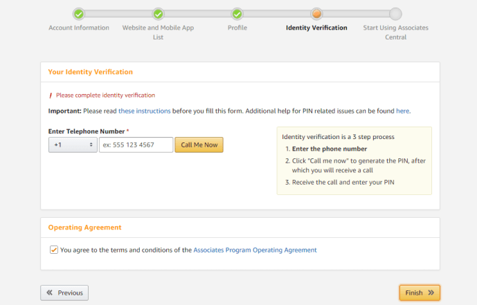 Verification of Amazon Affiliates