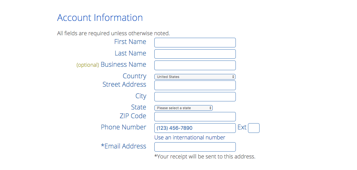 Fill out Account Info