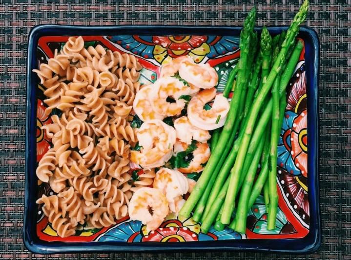 An easy dinner? Shrimp, Pasta, and Asparagus Meal
