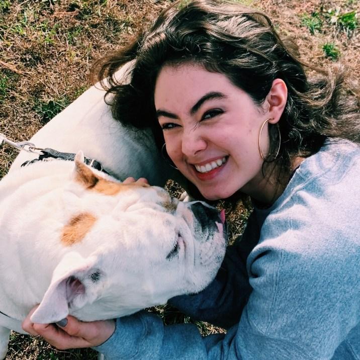 Me and Bertha the bulldog at a football game!