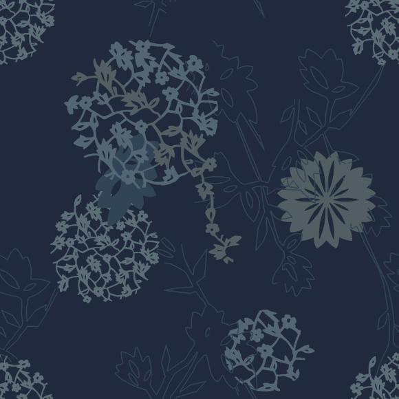 botanic collage blue