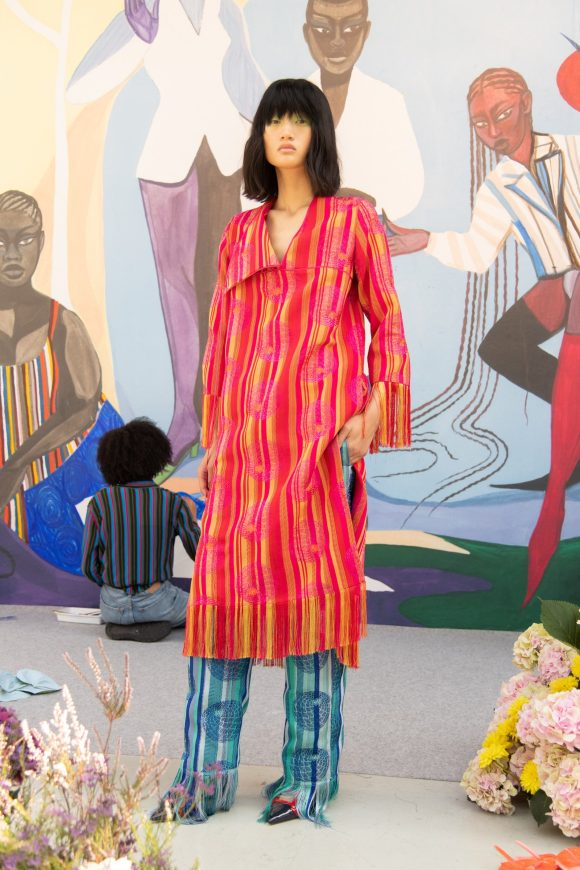large striped carpet, Kenneth Ize's SS2021 collection translated into large striped carpet palette