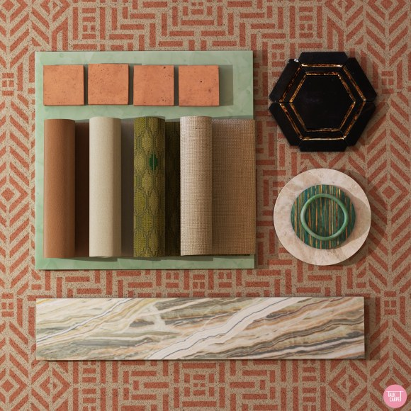 nude geometric carpet, Timeless nude geometric carpet inspired by Mayan artifacts