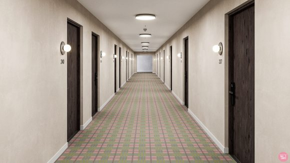 pink plaid carpet, Pink plaid carpet incorporating lime green tones for a vibrant palette