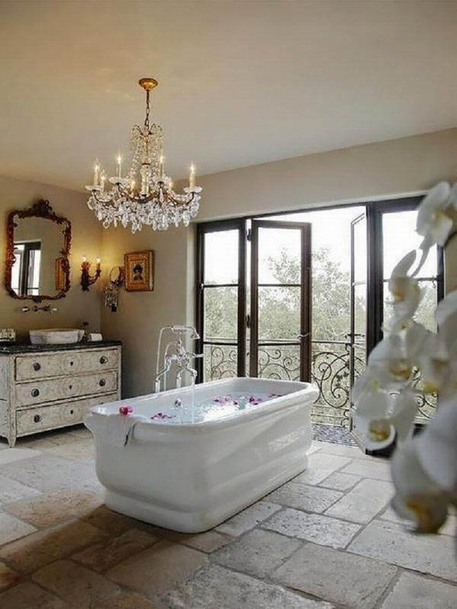 Bathroom With Crystal Chandelier