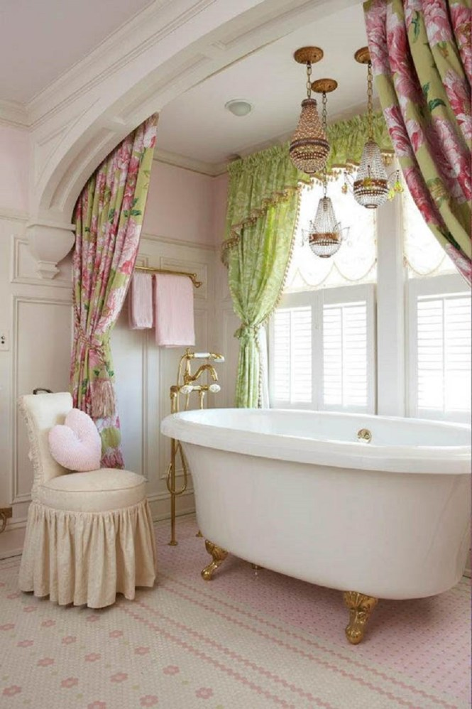 Bathroom With Floral Curtains