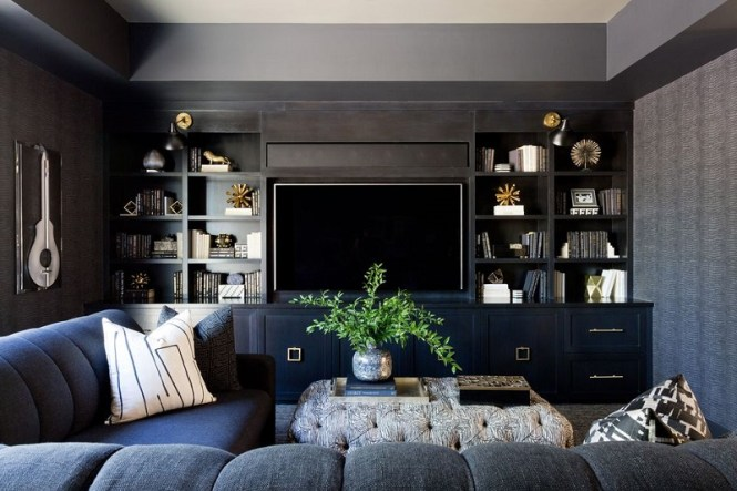 Black, Blue And Gray Living Room