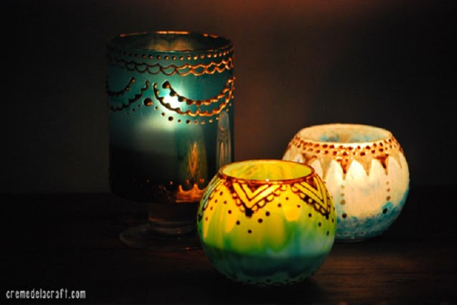 DIY Moroccan Glass Jar Candle Holder