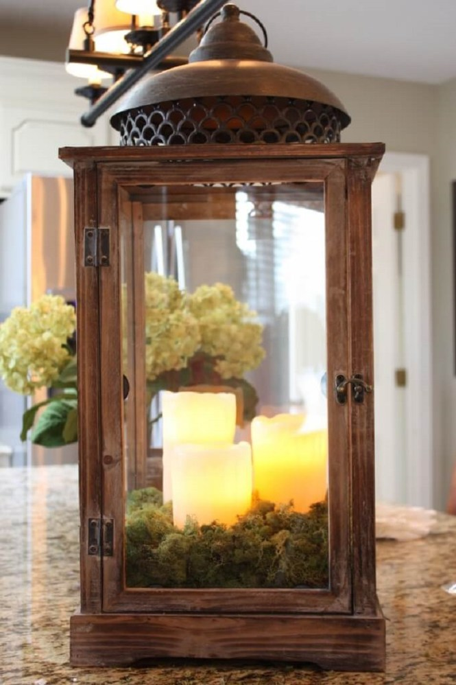 Enchanted Moss Lantern With Candle