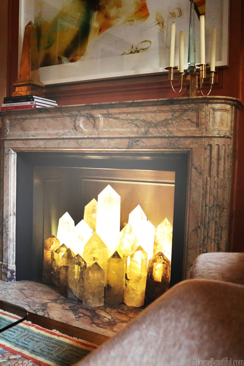 Glowing Quartz In The Fireplace