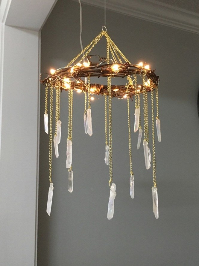 Gold Chandelier With White Stone