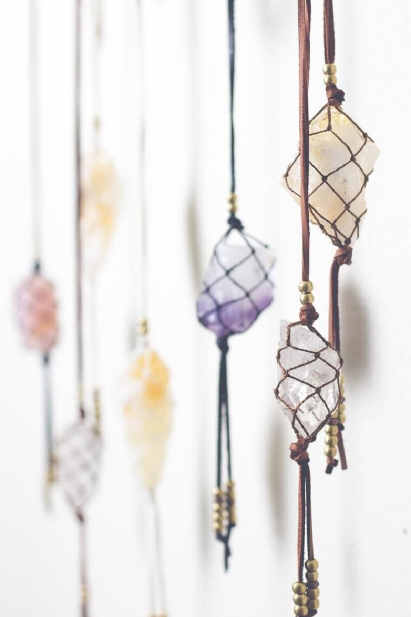 Netted Hanging Stones Of Color
