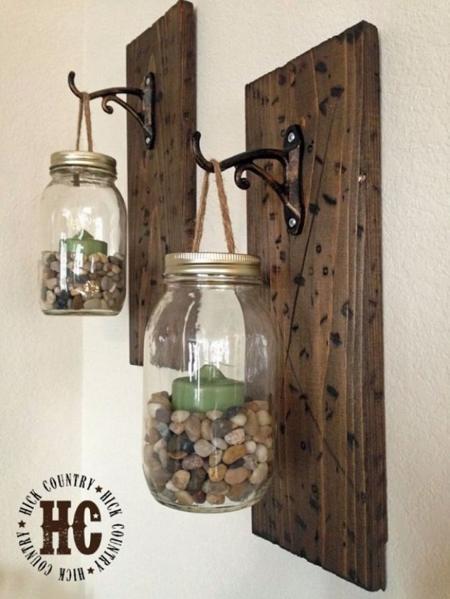 Rustic Wood Panel With Hanging Lamps