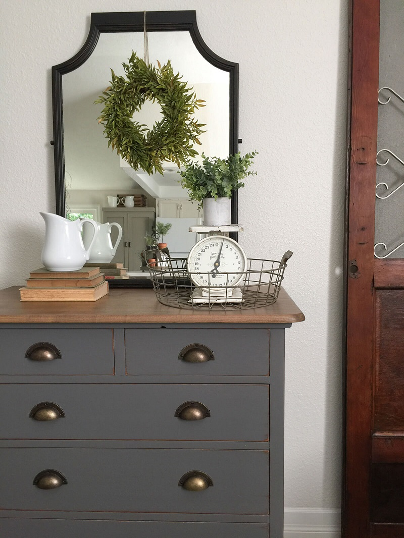 Simple Mirror With A Hanging Wreath