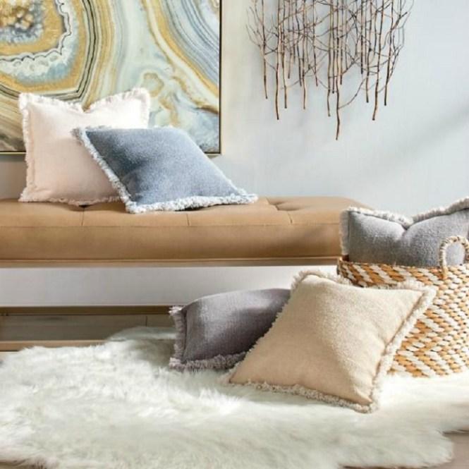Stone Washed Fringed Pillow