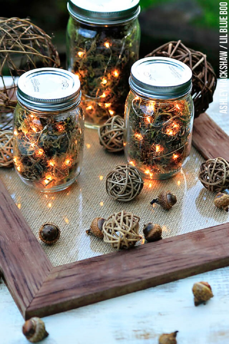 String Lights Table Jar