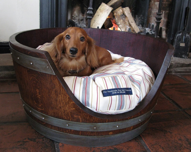 Vino Dog Repurposed Barrel Bed