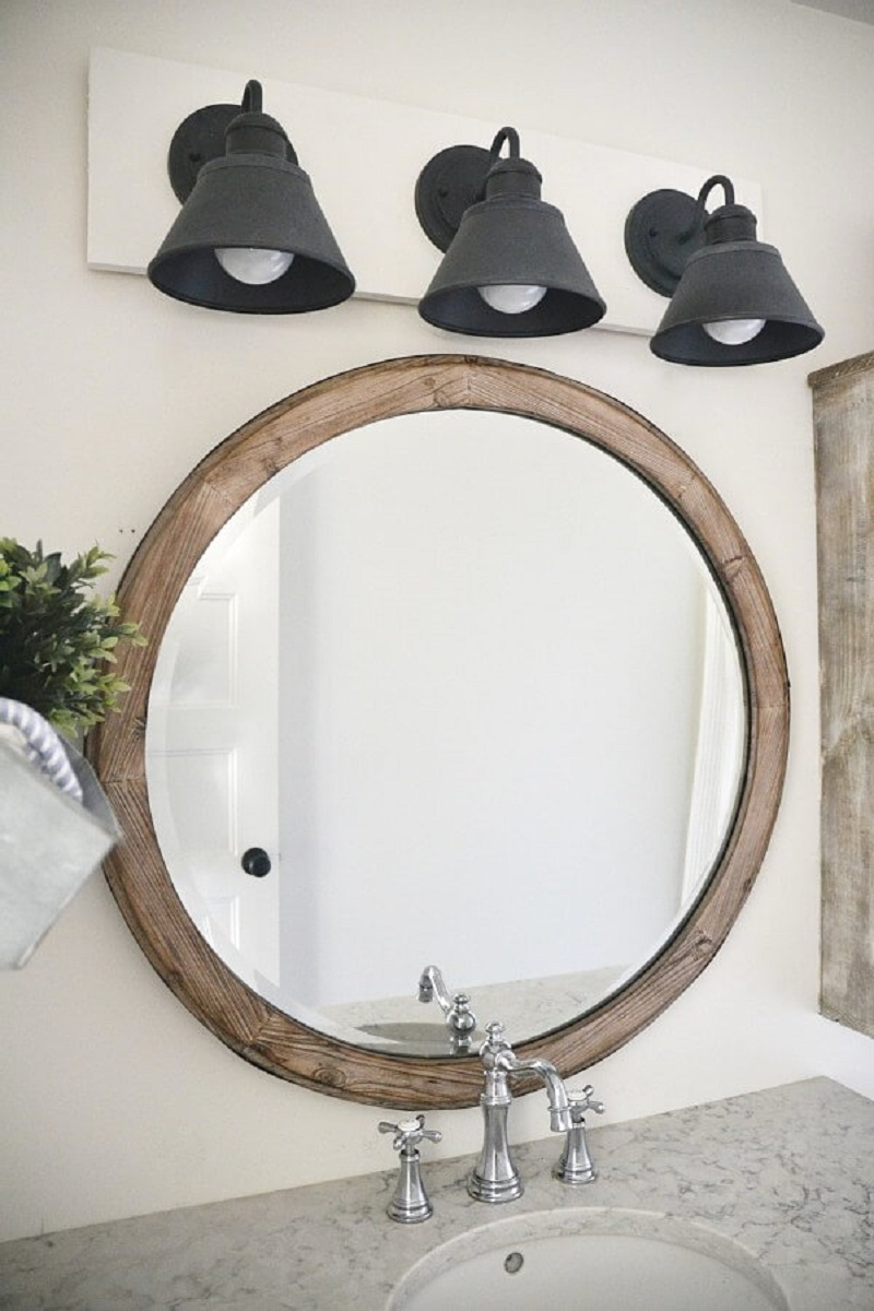 Weathered Wood Circular Mirror