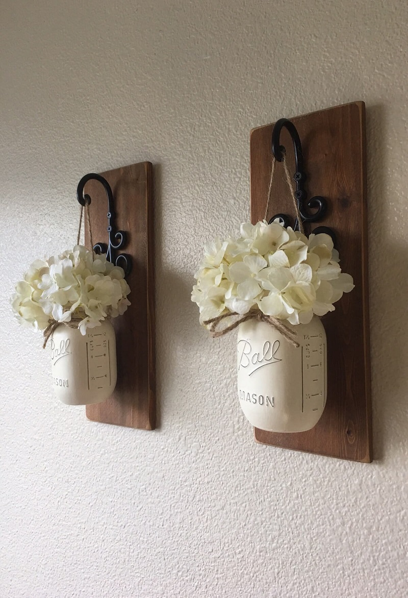 Wooden Wall Hangings With Iron Hooks