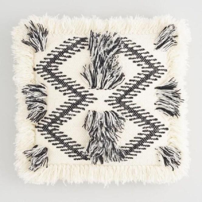 Woven Black And White Fringe Pillow