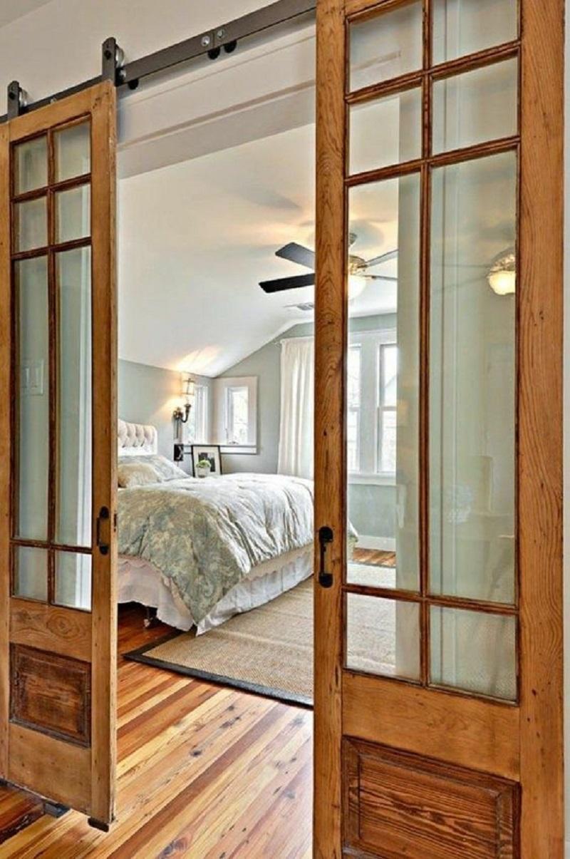 Double Glass Bedroom Barn Door