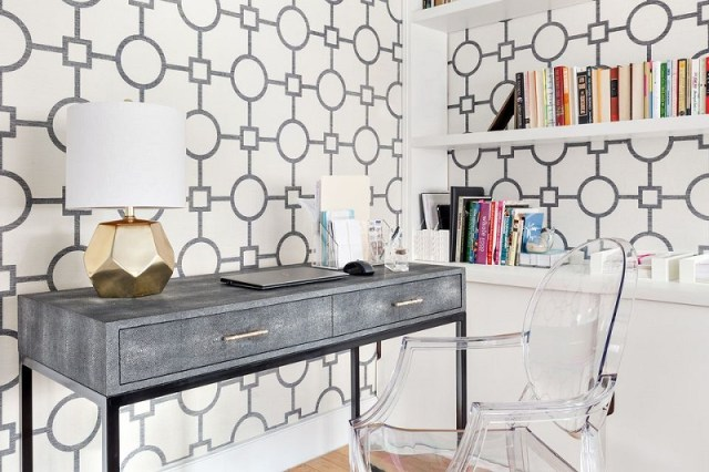 Home Office With Stylish Wallpaper