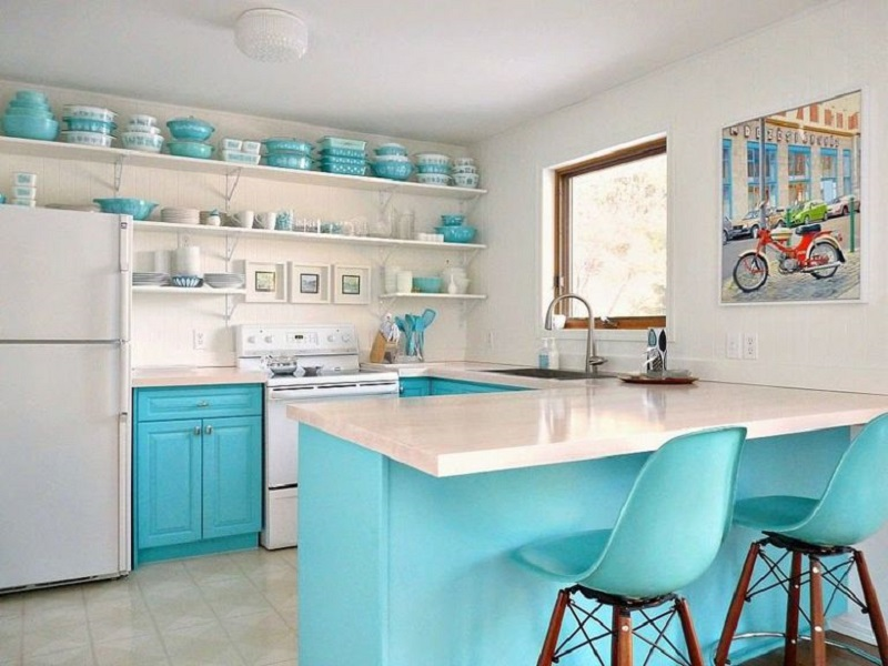 Blue Kitchen With Open Shelving Storage