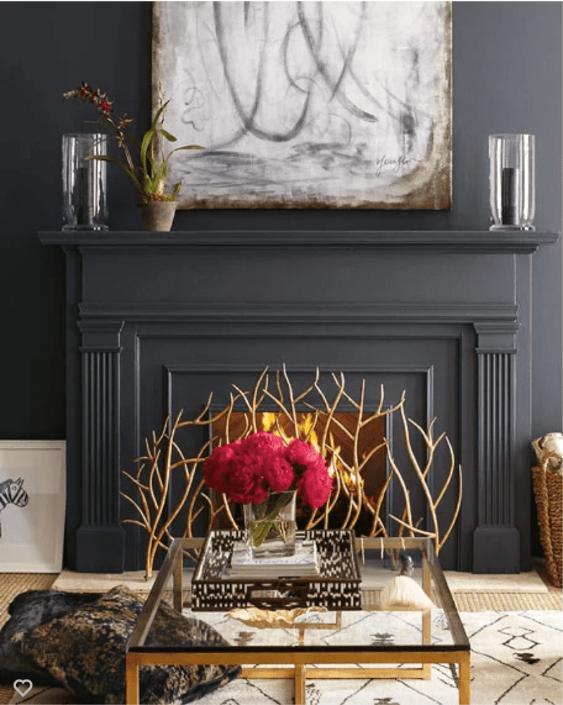 Dramatic Mantel With Abstract Art